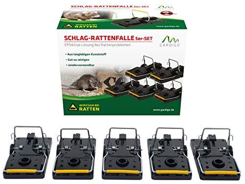 Gardigo Professionelle Rattenfalle 5er Set, Schlag-Rattenfalle, Schlagfalle, Rattenschlagfalle ohne Gift, zur Schädlingsbekämpfung