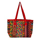 LeeRooy Flower Embroidery Design/Traditional Indian Handbag//Multicolored