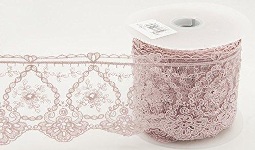 95mm fein bestickter Tüll Spitze trimmen Flamingo Pink–Meterware