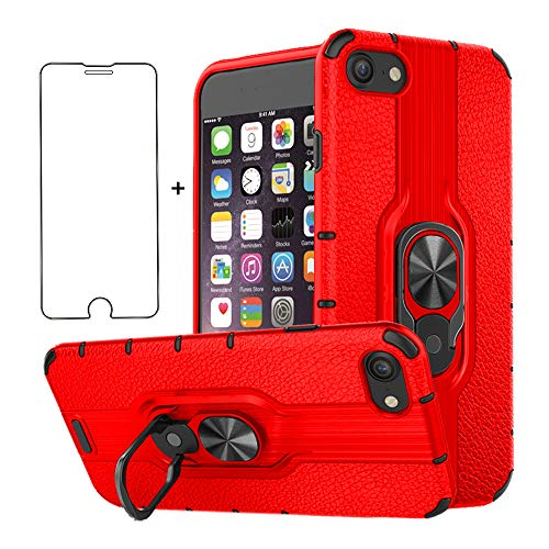 Phone Case for Apple iPhone 7/8/SE 2020 with Tempered Glass Screen Protector Magnetic Ring Holder Stand Kickstand Hybrid Hard Rugged ProtectiIve Cover iPhone7 iPhone8 i 7S 8S i8 i7 Seven Eight Red