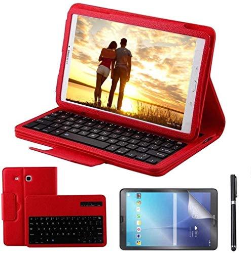 drolpt Conveniente funda de teclado para Samsung Galaxy Tab A 9.7 Smt550 Smt555 Smp550 inalámbrico Bluetooth teclado cubierta de piel + teclado + película (color rojo, tamaño: Tab E 9.6 T560 T561)