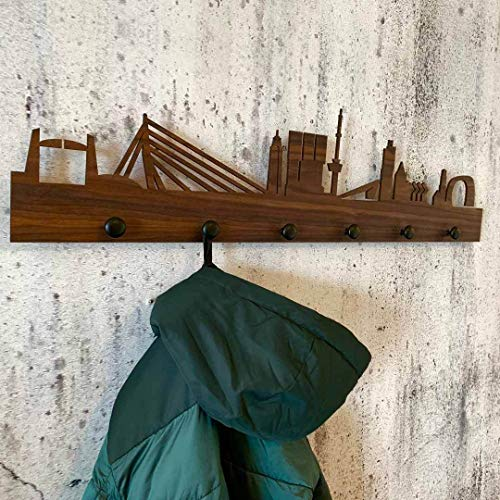 Skyline Kapstok Rotterdam - 100x24 cm - Woondecoratie design - Wanddecoratie Bamboe hout - Woondecoratie - Wanddecoratie