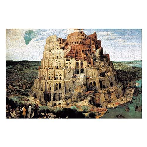 Promini Wooden 1000 Pieces Der Turm von Babel Puzzles Tägliche Puzzlespiele für Erwachsene und Kinder