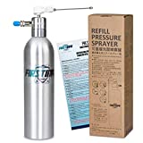 FIRSTINFO Aerosol Refillable Fluid Oil Pressure Storage Sprayer Can Aluminum Pneumatic Manual Compressed + Jet Dual Purpose Nozzle for Jet Straight Stream & Mist Spraying Kit