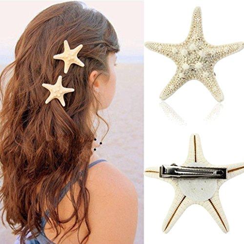 Toamen Pince à cheveux Femmes Dame Filles, Vraiment une étoile de mer Épingle à cheveux Clip de canard Naturel Beige