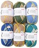 theofeel Paquete de 6 ovillos de lana para calcetines, 100 g, Katia Symmetric Socks Helsinki, 600 g, lana para calcetines, el mismo calcetín