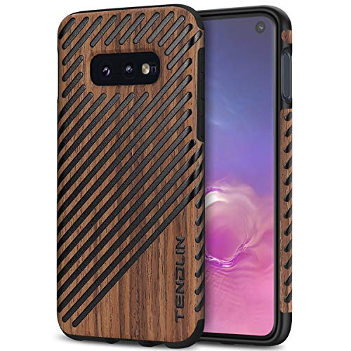 TENDLIN Galaxy S10e Case Wood Grain Outside Design and Flexible TPU Silicone Hybrid Slim Case Compatible with Samsung Galaxy S10e (Wood & Leather)
