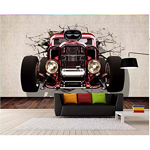 Papel tapiz 3d mural fotográfico coche clásico pared rota sala de estar decoración del hogar papel tapiz mural 3d papel tapiz 3d 450X300cm