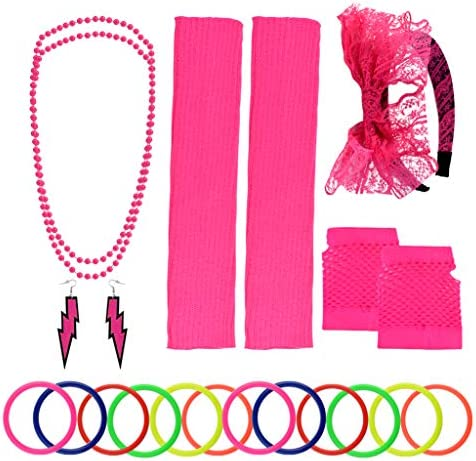 Yolyoo 80s Women s Costume Accessories Set Headband Earrings Fishnet Gloves Leg Warmers Necklace product image