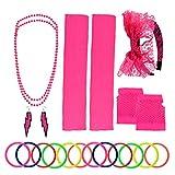 Yolyoo 80s Women's Costume Accessories Set Headband Earrings Fishnet Gloves Leg Warmers Necklace Bracelet for Women 80s Party Rose Red