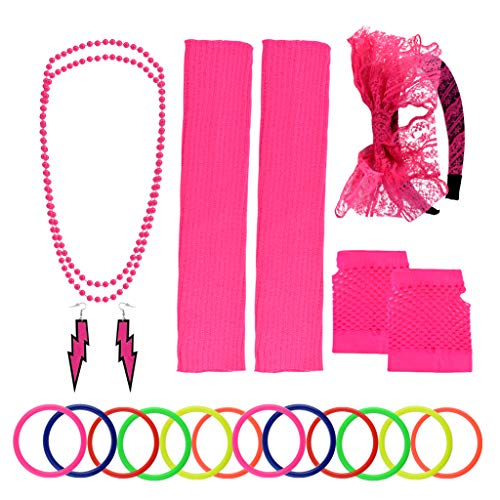Yolyoo 80s Women's Costume Accessories Set Headband Earrings Fishnet Gloves Leg Warmers Necklace Bracelet for Women 80s Party Rose Red