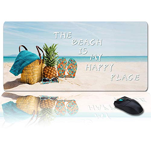 Large Mouse Pad Desk Mat 35x15 in Oversized RGB Soft Gaming Mousepad, Custom The Beach is My Happy Place XXL Cool Keyboard Pad for Gamer, Office & Home