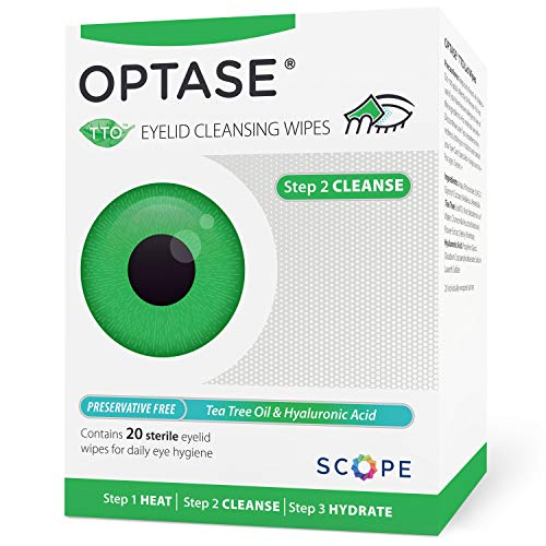 Optase Tea Tree Oil Eye Lid Wipes - Eyelid Cleansing Wipes for Daily Use - Premium Eye Cleanser for Dry Eye Relief - Preservative Free, Natural Ingredients - Step 2 Cleanse - TTO Wipes, Box of 20