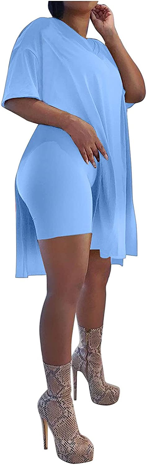 Maryia Womens Summer Casual Oversized Dress Two Piece Short Sleeve Tops Cardigan T Shirts Plus Size Tight Shorts Set