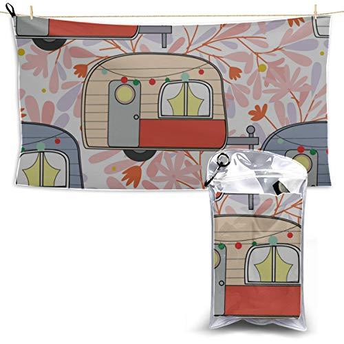 N\A Happy Retro Frühling Romantisches Wohnmobil Auto Dekor Strandtuch Trockentuch Reisesporttuch Für Kinder Reisetuch Für Männer 70 x 130 cm (27,5 '' X 51 '') am besten für Fitnessstudio Travel