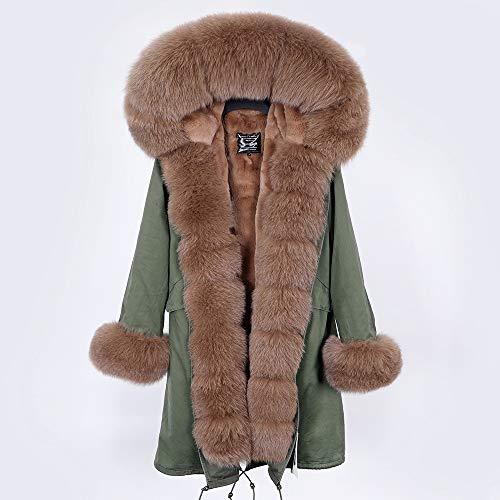 JNXFUZMG 2020 Mujeres de Invierno Abrigo Largo Abrigo de Moda Parques con Capucha Cuello Natural Chaquetas de Invierno (Color : 2, Size : X-Large)