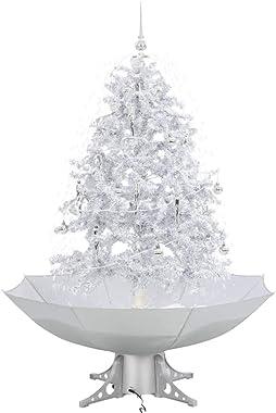 vidaXL Sapin de Noël avec pied de parasol et chute de neige - LED - Blanc - 140 cm