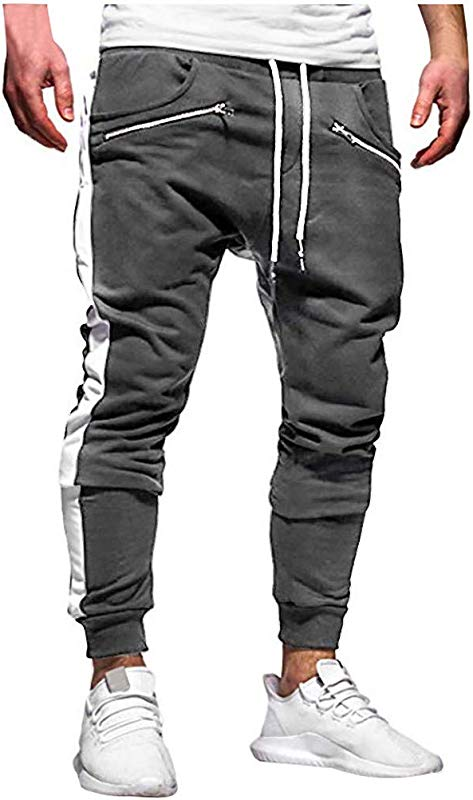 Men S Solid Sweatpants Male Casual Overalls Zipper Pant Hip Hop Drawstring Sport Trousers With Pockets