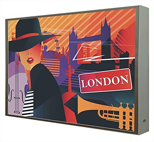 Cuadro con Marco de Madera Lacada en Blanco Iluminado con Leds Serie Pop Art: London