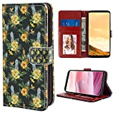 Galaxy S8 Plus (2017) [6.2'] Leather Wallet Case Hawaii Tropical Flowers Blooming Frangipani Plumeria Botanical Bouquet Pineapple Fruit Multicolor Pattern with Coin Slot Case
