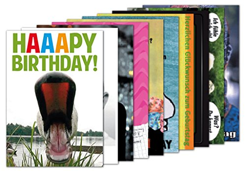 10er-Set: Postkarten A6 +++ MIX SET Nr. 2 von modern times +++ 10 lustige GEBURTSTAGS-Motive +++