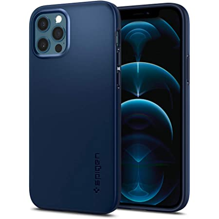 Spigen Thin Fit Back Cover Case Compatible with iPhone 12 Pro | iPhone 12 (TPU + Poly Carbonate | Navy Blue)