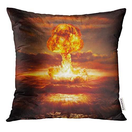 485 Protectora De Almohada 45x45cm Fundas De Almohada Red Atomic Explosion Nuclear Bomb In Ocean Yellow Mushroom Tirar Almohada Cojin
