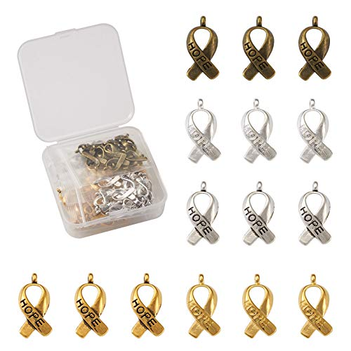 100pcs/box Tibetan Breast Cancer Awareness Charms 5 Styles Hope Ribbon Pendants 19x7.5mm for DIY Jewellery Crafts Making