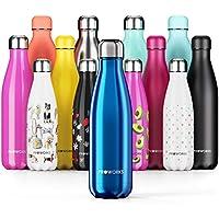 Proworks Botellas de Agua Deportiva de Acero Inoxidable | Cantimplora Termo con Doble Aislamiento para 12 Horas de Bebida Caliente y 24 Horas de Bebida Fría - Libre de BPA - 1L - Azul Metalizado