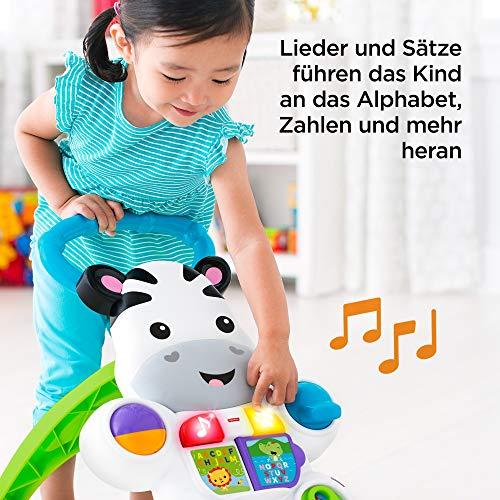 Fisher-Price DLD94 Zebra Lauflernwagen Lauflernhilfe mit Musik und Lichtern lehrt Buchstaben und Zahlen, ab 6 Monaten deutschsprachig - 6
