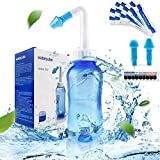 Neti Pot Sinus Rinse Nasal Wash Bottle Sinus Rinse Bottle Allergy Cleaner Pressure Irrigation Neti-Pot with Sticker Thermometer for Adult & Kid BPA Free(300ml with 30 Nasal Wash Salt Packets)