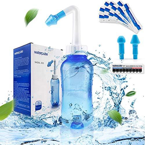 Neti-Pot,Neti Pot Sinus Rinse Nasal Wash Bottle Sinus Rinse Bottle Allergy Cleaner Pressure Irrigation Neti-Pot with Sticker Thermometer for Adult & Kid BPA Free(300ml with 30 Nasal Wash Salt Packets)