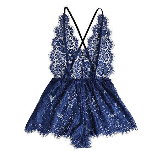 RoMantic Dessous für Frauen Bodysuit Deep V Einteiliger Babydoll V-Neck Backless Jumpsuit Pyjama