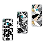 Huawei Y7 2019 Case, 3-Pack Glossy Marble Glitter Shiny