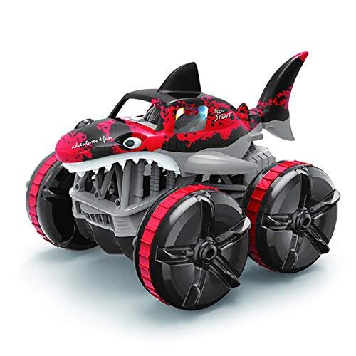 Wr 2.4G Impermeable Control Remoto Impermeable Hierba anfibia Tierra Conducción Coche de tiburón con luz de respiración, Coche de Carreras con tracción en Las Cuatro Ruedas Coche RC Juguetes