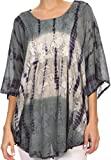 Sakkas 14031 - Ellesa Ombre Tie Dye Circle Poncho Blouse Chemise avec Broderie de Paillettes - Gris/crème - OS