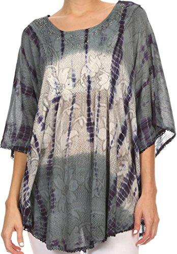 Sakkas 14031 - Ellesa Ombre Tie Dye Circle Poncho Blusa Top con Bordado de Lentejuelas -Grey/Cream - OS
