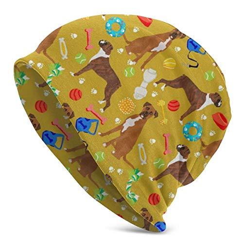 JJsister Wintermütze,Strickmütze,Beanie Mütze Boxer Dog Toys Pattern Beanie Hat Classic Skull Cap Stretch Casual Headwear