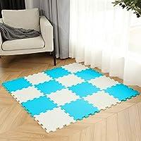 柔らかいEVAの泡の赤ちゃんの床、ジグソーズパズルボードの携帯用折りたたみ式、18タイル (Color : Blue/White)