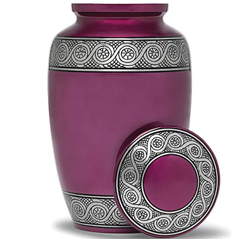 Eternal Harmony Cremation Urn for Human Ashes   Memorial Urn Carefully Handcrafted with Elegant Finishes to Honor and Remember Your Loved One   Adult Urn Large Size with Beautiful Velvet Bag (Purple)