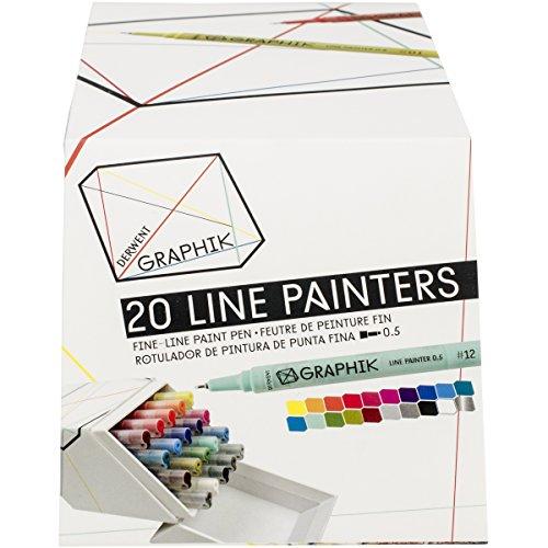 Derwent Graphik Line Painter Set, All 20 Graphik Line Painter Colors (2302234),Assorted Colors