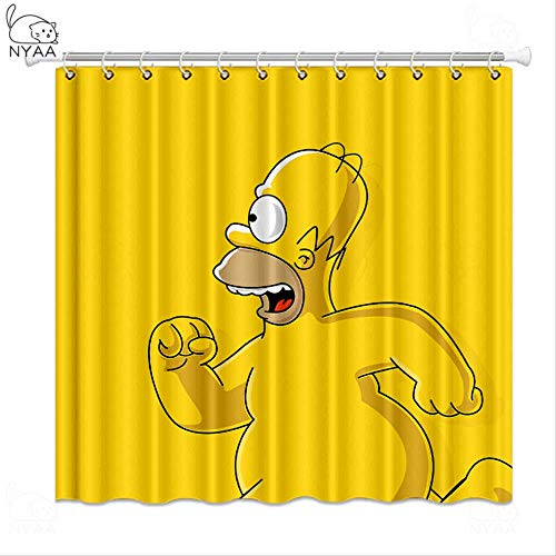 yqs Duschvorhang 180 * 200CM Die Simpsons Dusche Vorhänge Wasserdicht Polyester Stoff Bad Vorhänge Für Wohnkultur