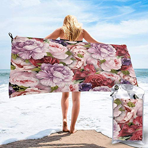 Bathroom Towels Shower Towels Toallas de playa ligeras, hermosas flores de peonía Beach Towels 140 X 70
