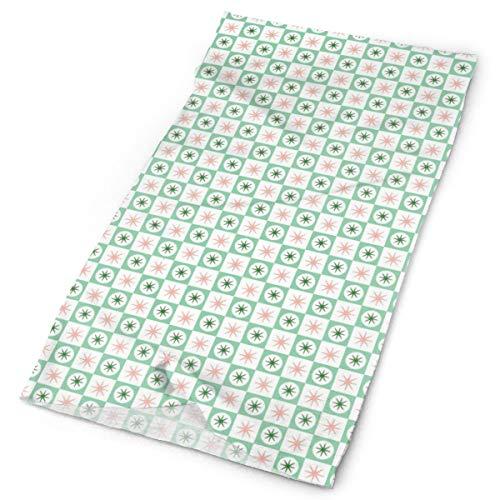 Spiffy (sellos verdes) Midcentury Modern Atomic Stars Starburst Check Checkerboard Geométrico Multifuncional Headwear Stretch Outdoor Neckwear Protección UV Rostro Escudo de la cara Calentador de la muñeca para todo el año