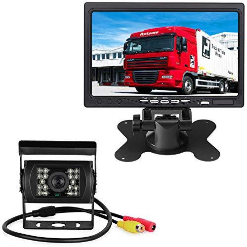 18LEDs IR Visión nocturna Impermeable Vista trasera Cámara Con 1OM video Cable + 12V-24V 7'TFT LCD HD de Pantalla a Color Para RV / Autobús / Camión / Remolque