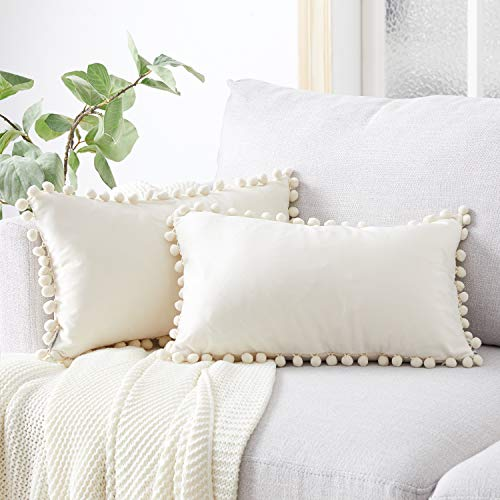 Top Finel Lumbar Throw Pillow Covers with Pom Poms Soft Particles Velvet Solid Cushion Covers 12 X 20 for Couch Sofa Bedroom Car, Pack of 2, Cream