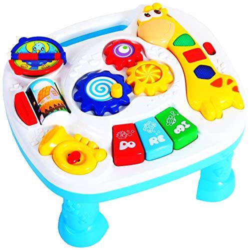 MalPlay Baby Spieltisch Musikspielzeug   Baby erstes Keyboard   Licht & Sound   mit Tiergerausche   Babyspielzeug Lernspielzeug für Kinder ab 6 Monaten