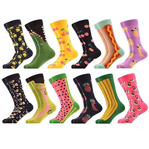 WeciBor Herren Bunt Beiläufig Gemusterte Socken Gekämmte Baumwolle Lustig Neuheit Crew Socken, 12 Paar Obst, L