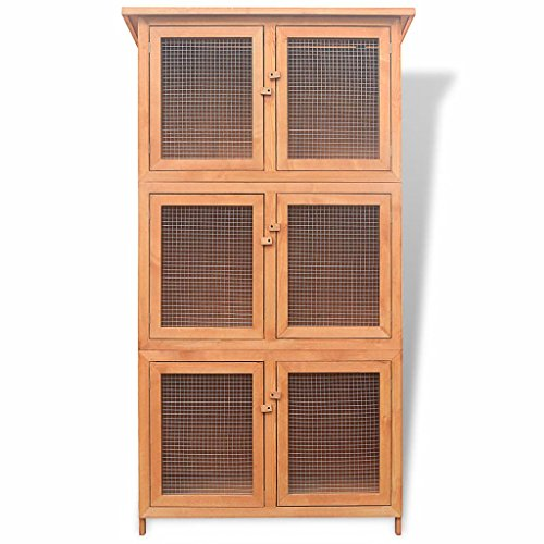 Tidyard Kleintier-/Kaninchenstall 6 Boxen Holz Wooden Rabbit Hutch with 6 Boxes Rabbit Hutch Cage Chicken coop Small Animal Cage
