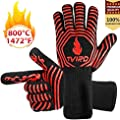 BBQ Gloves Extreme Heat Resistant, Tvird Oven Gloves BBQ Grilling Gloves 1472°F/ 800 °C Extreme Heat Resistant Oven Gloves, Forearm Protector For BBQ, Cooking, Grilling, Baking
